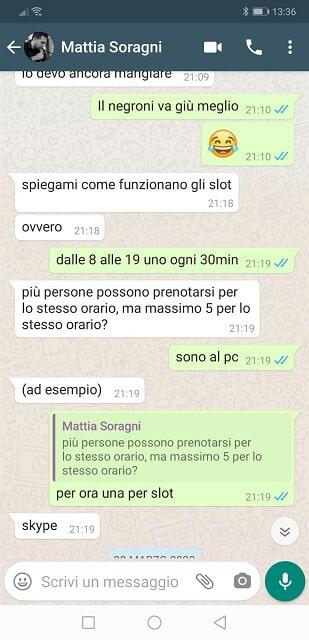 Chat whatsapp inizio